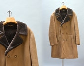 Men's Sheepskin Coat - Vintage Shearling Car Coat Brown Sheepskin Jacket Double Breasted Suede Fur Lined Men's Coat by Lederman Merino M L