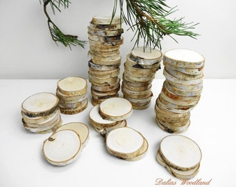 """1.5""""-1.7"""" (30) Birch Slices, Tree Slices, Wedding Decor ,Tags, Favors,Table Numbers, Woodworking, Set of 30 Birch Tree Slices, (B10)"""