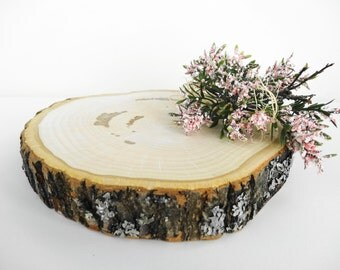 "7""-8"" Wood Slice, Tree Slice, Wood Slab, Wood Cake Stand, Wood Slice Cake Stand, Rustic Wedding Decor, Woodland Wedding, Wood Slab"