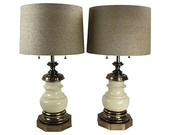 Stiffel Lamps in Porcelain & Brass, Pair - Set of 2