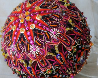 "6"" Opulent ONE OF A KIND sequined & beaded ornament using Paula Nadelstern fabric"