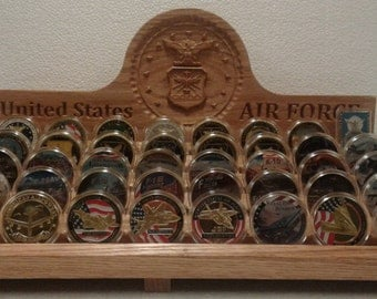 US Air Force Carved Oak Challenge Coin Rack