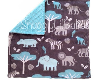 Grey, turquoise zoo minky with turquoise minky dot baby security blanket