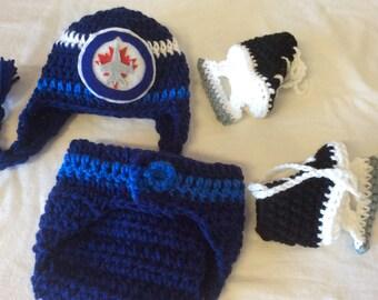 Winnipeg Jets Baby Crochet Hockey Earflap Hat, Diaper Cover, and Skate  Booties.