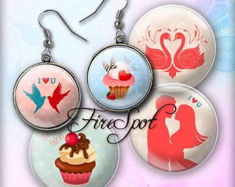 Valentine's Day love marry - Digital Collage Sheet 20mm 18mm 16mm 14mm 12mm  circle Glass Pendants,Instant Download Scrapbooking