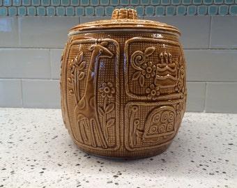 "Unusual, 1960""s, Harvest Gold            Cookie Jar"