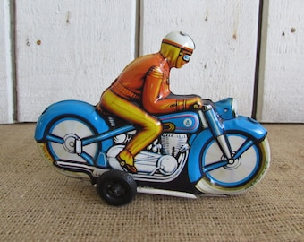 PN-Cord Friction Toy Metal Motorcycle with Rider, PN-Cord Friction Toy, Western Germany Friction Toy, PN Cord Friction Toys, Toy Motorcycle