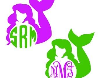 Mermaid Ariel Disney Monogram Decal