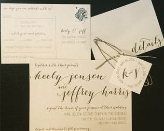 Destination beach wedding invitation suite