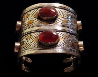Spectacular Vintage Style Turkoman Cuff Bracelet - Ethnic Boho Gypsy Statement Bracelet