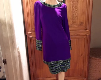 VIntage Sequins Modern 60s Style 2 Pc Pencil Skirt Tunic 2 Pc Mad Men Secretary Purple Wool Suit Dress S XS