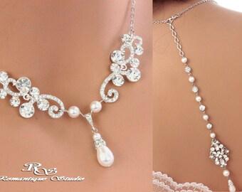 Backdrop necklace Bridal necklace Wedding Jewelry Wedding necklace Bridal Jewelry Swarovski pearl and crystal necklace 2165