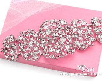 Crystal bridal bracelet wedding bracelet rhinestone bracelet wedding jewelry bridal jewelry crystal cuff crystal wide cuff bracelet B0181