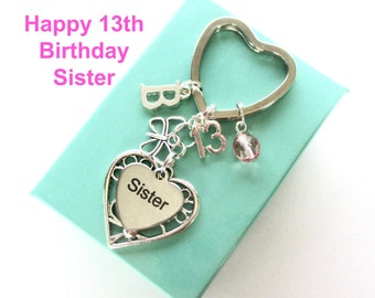 13th birthday gift for Sister - Personalised Sister keyring - Butterfly keyring - Gift for Sister - 13th keyring - Sister birthday - UK