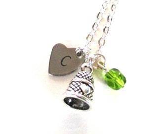 Personalised thimble necklace - Sewing gift - Birthstone jewellery - Thimble birthstone necklace -  gift for seamstress - UK