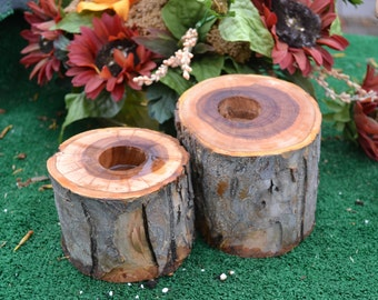 Rustic Log Tealight Candle Holders, Mountain Wedding Decor Wood Tea Light Candle Holder, Elm Wood Tree Branch