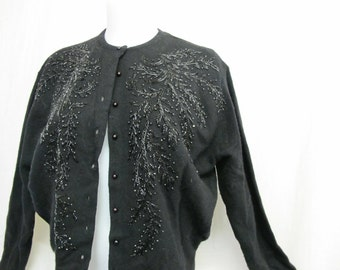 Beaded Cardigan Sweater Mad Men Cardigan Pin Up Cardigan Sweater Black Beaded Sweater Crystal Beads