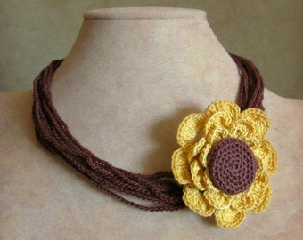 Crochet Pattern - Flower Bracelet and Flower Necklace  Jewelry Pattern - pdf instant download