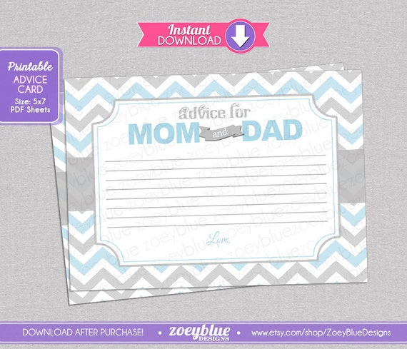 Baby Shower Tips For New Moms: Blue Chevron Baby Shower Advice Card Party Game Grey Blue