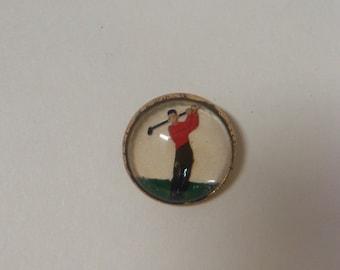 Vintage INTAGLIO Button Male Golfer