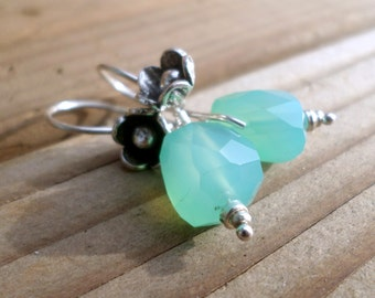 Chrysoprase Earrings and Hill Tribe Silver, May Birthstone, Thai Silver Flower Earrings, Chrysoprase and Sterling Silver Earrings
