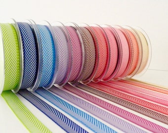 5 metres of 16mm Herringbone Twill Ribbon - 11 colours to choose from