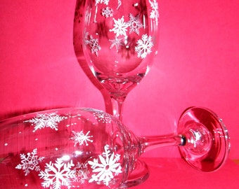 Snow Flake Hand Painted Wine Glasses