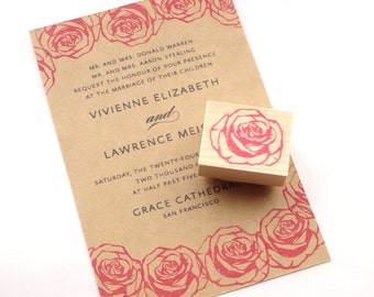 Rose wedding invitation stamp, Flower wedding, Handmade rubber stamp, DIY wedding decoration, Japanese stationery, Gift wrapping idea