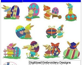 Embroidery Design CD - Sunbonnet Bunnies(1) - 10 Designs - 9 Formats - Threadart