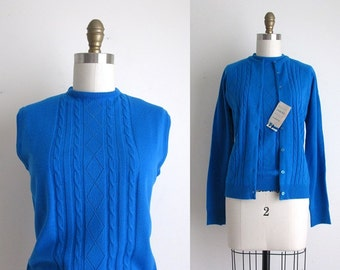 1960s Sweater / Vintage 1960s Twin Set / Deadstock Acrylic Cardigan and Vest