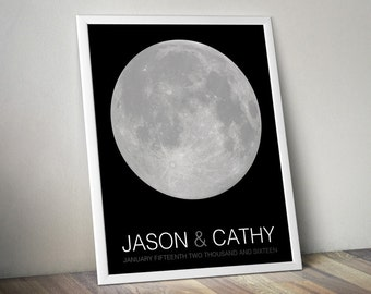 Wedding Guest Book Alternative - Signature Poster - Moon