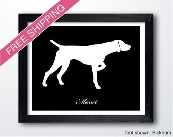 Personalized German Shorthaired Pointer Silhouette Print with Custom Name (version 2)