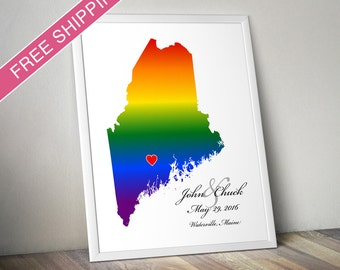 Maine State Rainbow Map Art Print - Personalized LGBTQ Wedding Gift, Engagement Gift, Wedding Guestbook