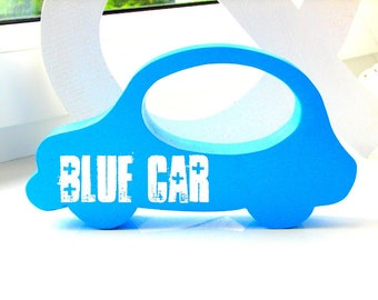 Blue wooden car