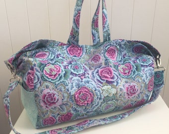 Handbag Large, Floral Pink Teal, Crossbody, Overnight Bag, Diaper Bag, Travel Bag, OOAK Tote, Made in Australia, Women's Gift, Sports Bag