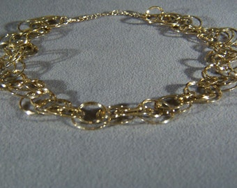 Vintage Yellow gold tone Multi Inter Twined Round Link Bold Necklace Chain **RL