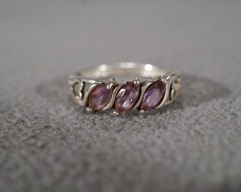 Vintage Sterling Silver Amethyst Bold Band Ring, Size 8 3/4    KW8