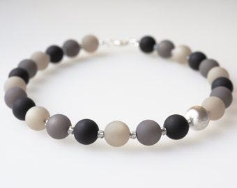 grey black necklace polaris pearls necklace with Mijuki and Wisilva silver plated