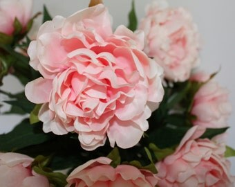 Single Stem Peachy Pink Peony Peonies Centrepiece Silk Flower Wedding Home Decor DIY Bouquet