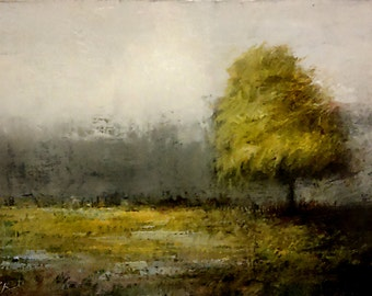 """Original Landscape Oil Painting """"A Tree in the Park"""" 5 in. x 7 in. Impressionist art Colorful Trees Bob Kimball Art Autumn Green"""