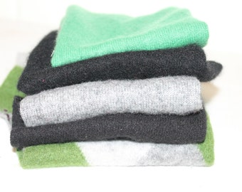 Upcycled Felted Cashmere Sweater Pieces - Lot of 5, Gray, Green & Black