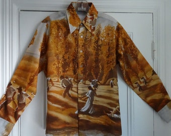 70's Polyester Shirt Tapered Hipster Disco Retro Shirt