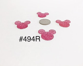3 or 5 pc - Hot Pink Glitter Minnie or Mickey Mouse Head Rhinestone Resin Flat back Cabochon Hair Bow Center