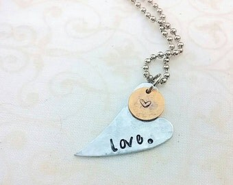 Hand stamped jewelry, heart jewelry, friend gift, love jewelry, unique gifts, personalized jewelry