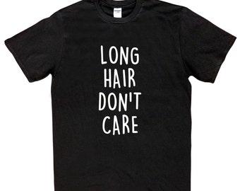 Boys 'Long Hair Don't Care' T-Shirt - Black or White - Brand New - Kids