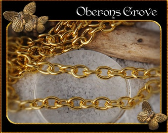 5m oval link chain gold 3x4mm