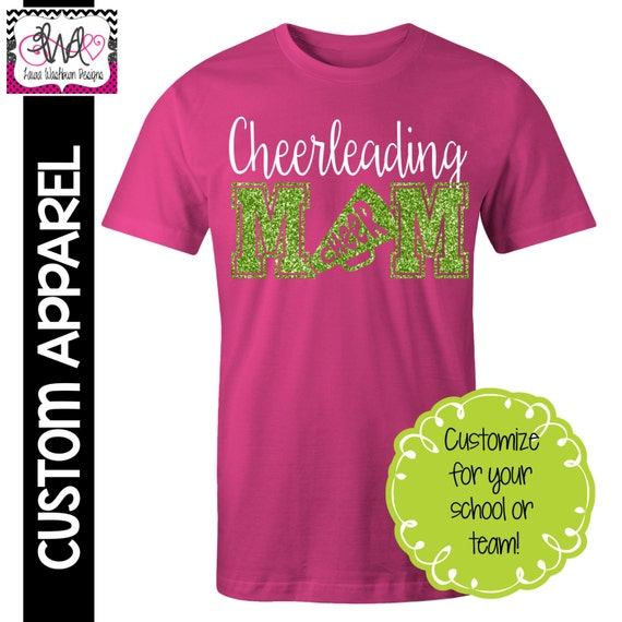Custom Apparel Custom Cheerleading Mom T Shirt With Glitter