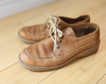 vintage woven tan leather lace up wedge oxfords womens 7 1/2 *