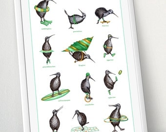 The Athletic kiwi print, kiwi bird poster