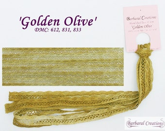 Hand dyed 11 mm wide cotton lace, dentelle - 'Golden Olive'